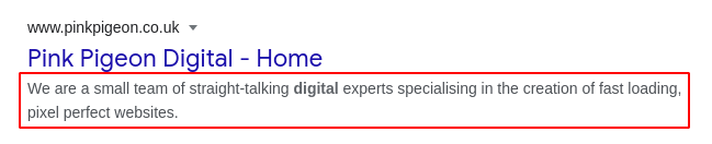 Image of meta description from the footer section within Essentials, on Google