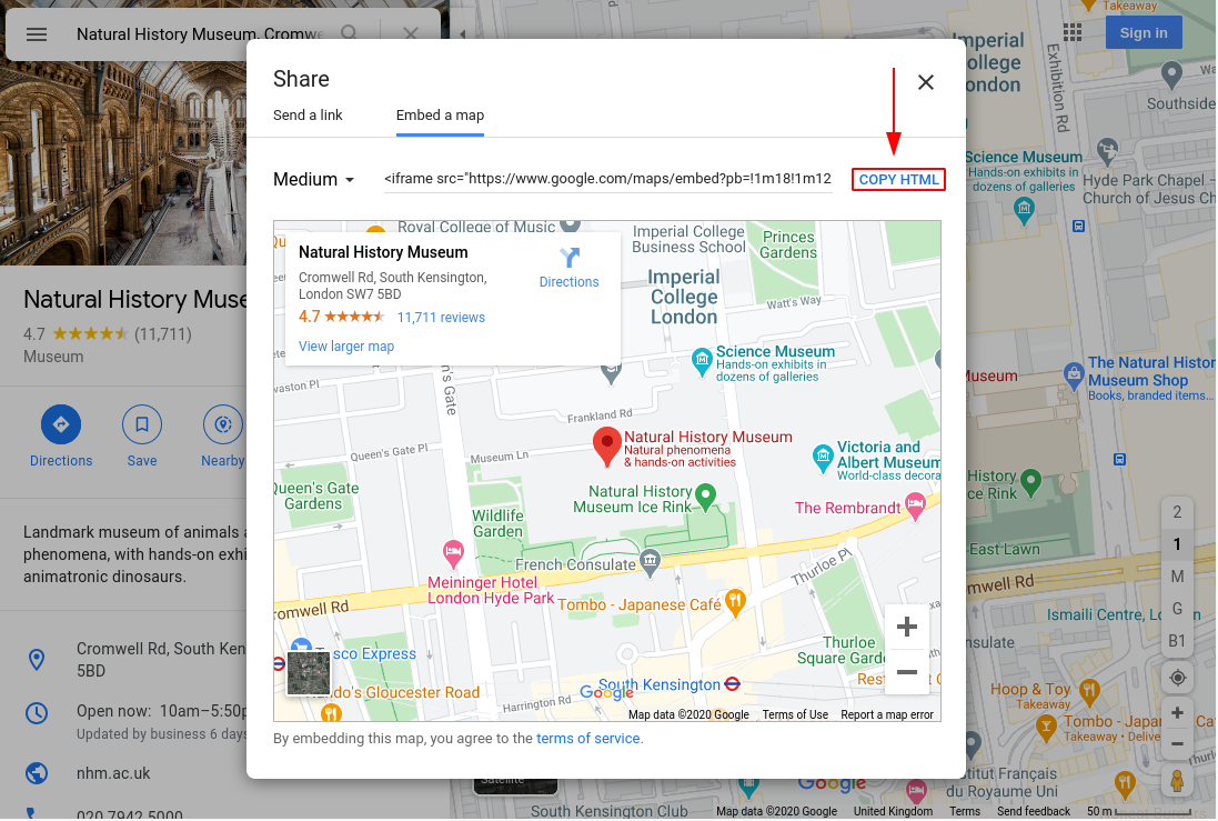 Image of google maps, copy html highlighted