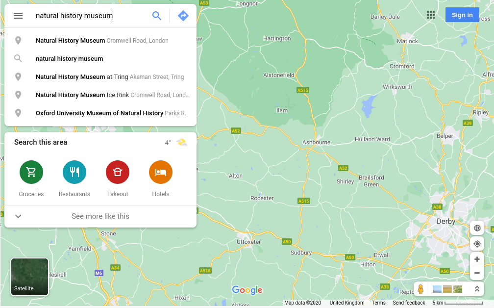 Image of google maps, search term entered
