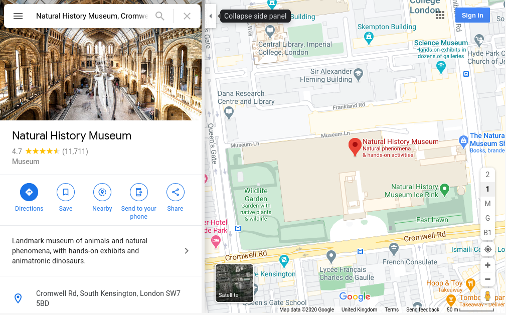 Image of google maps, search complete