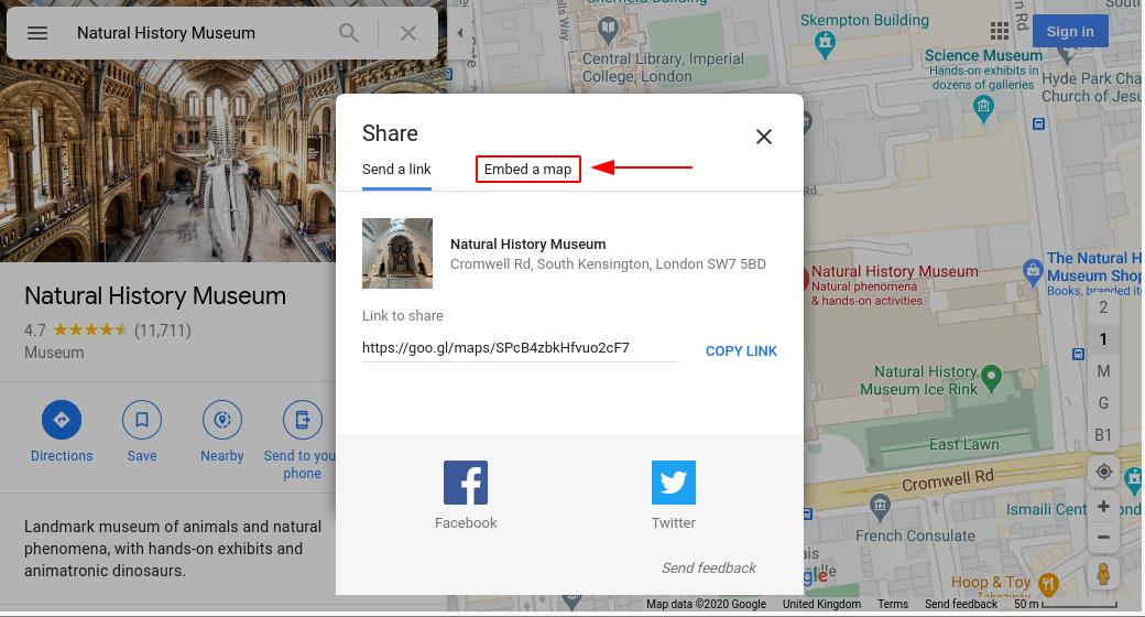 Image of google maps embed