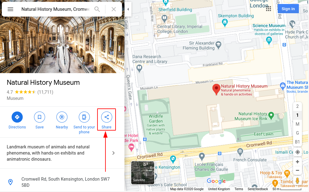 Image of google maps, share highlighted
