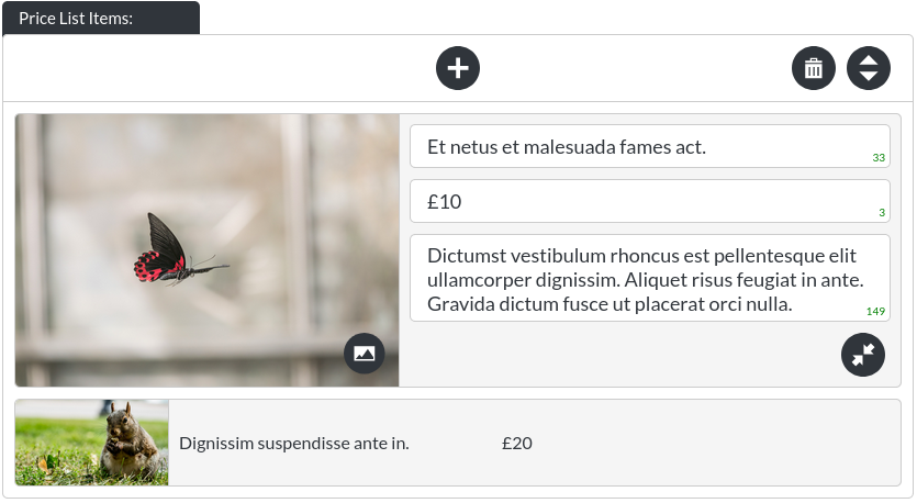 Image of the prices - list module 'with images' images enabled in website builder