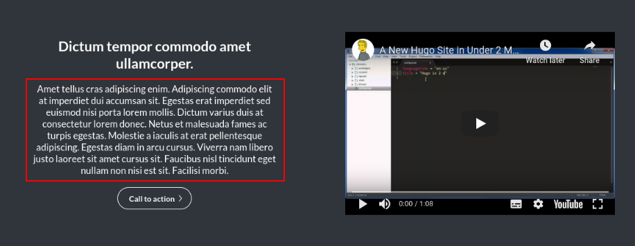 Image of the text panel of a text and video module