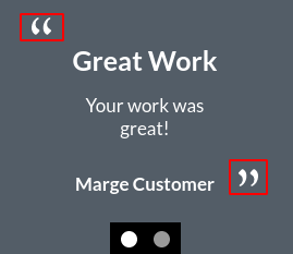 Image of the testimonial module's quotation marks online