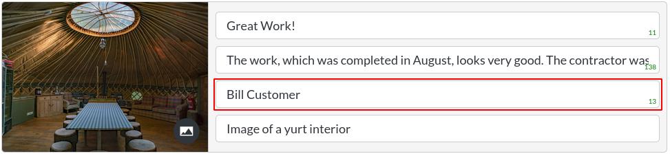 Image of a testimonials item - customer text in website builder