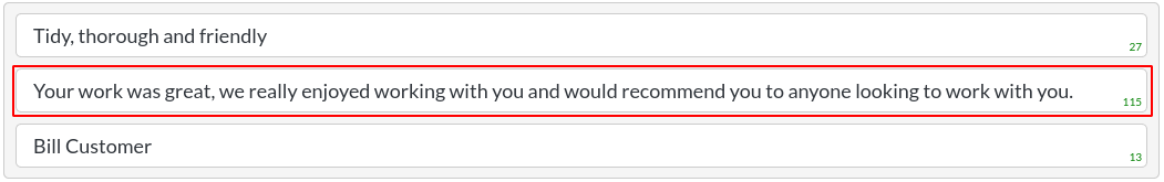 Image of a testimonials item - body text in website builder