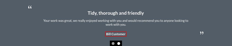 Image of a testimonials item - customer text