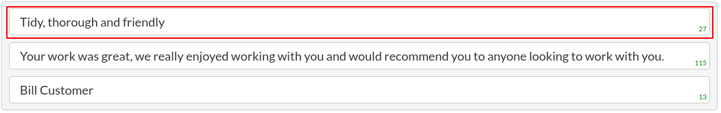 Image of a testimonials item - header text in website builder
