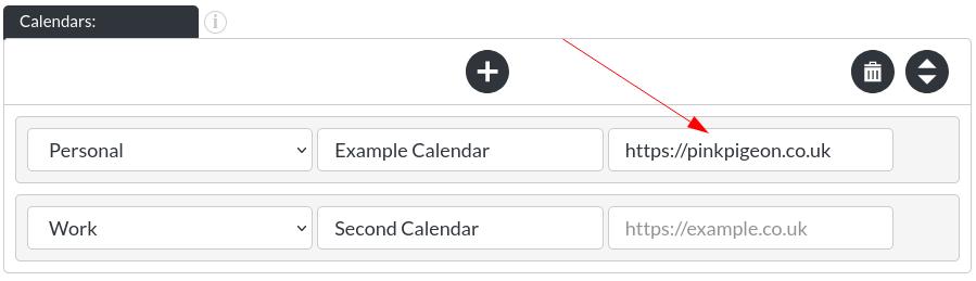 Image of the calendar - hotel bookings module, showing the calendar link in website builder