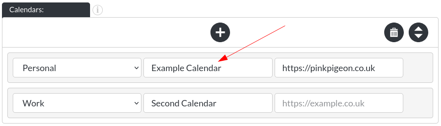 Image of the calendar - hotel bookings module, showing the calendar name in website builder