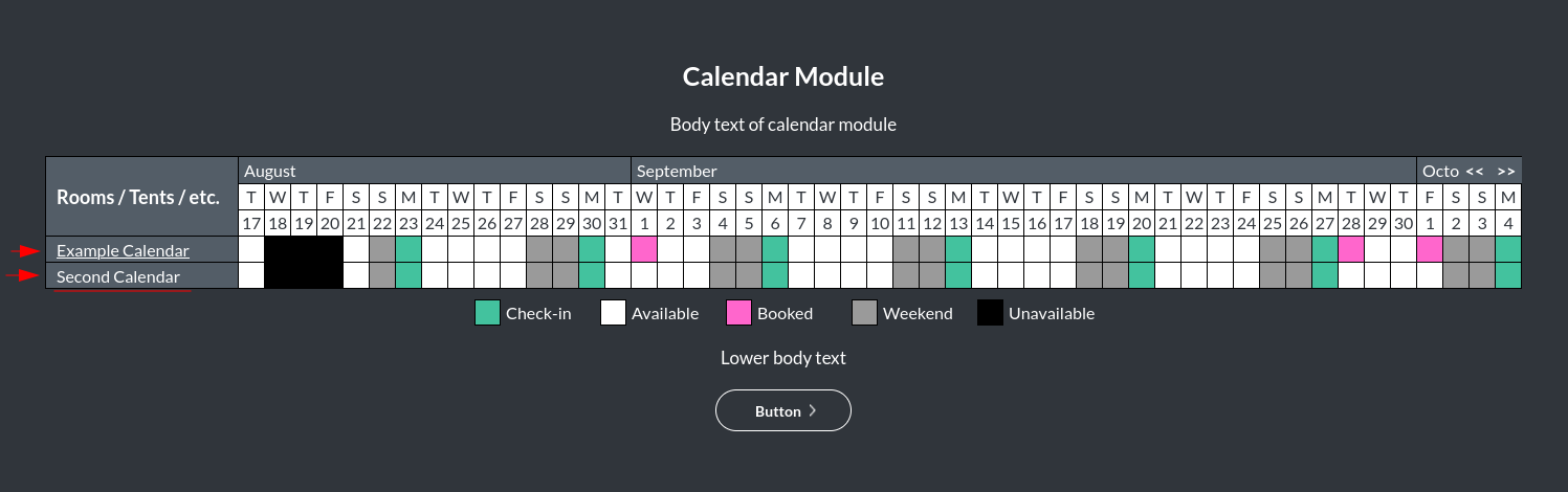 Image of the calendar - hotel bookings module, showing the calendars online
