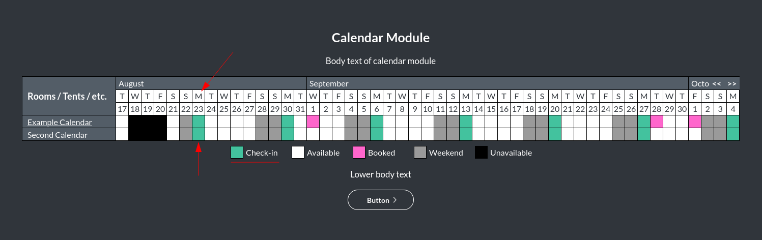 Image of the calendar - hotel bookings module, showing the checkin days online