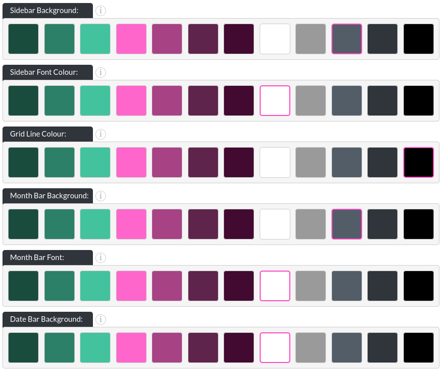 Image of the calendar - hotel bookings module, showing the colour options in website builder