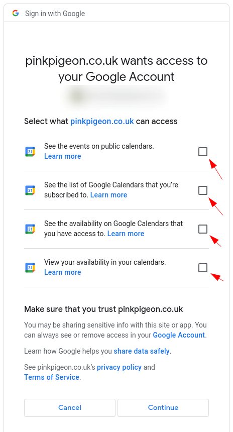 Image of the calendar - hotel bookings module, showing the permissions screen
