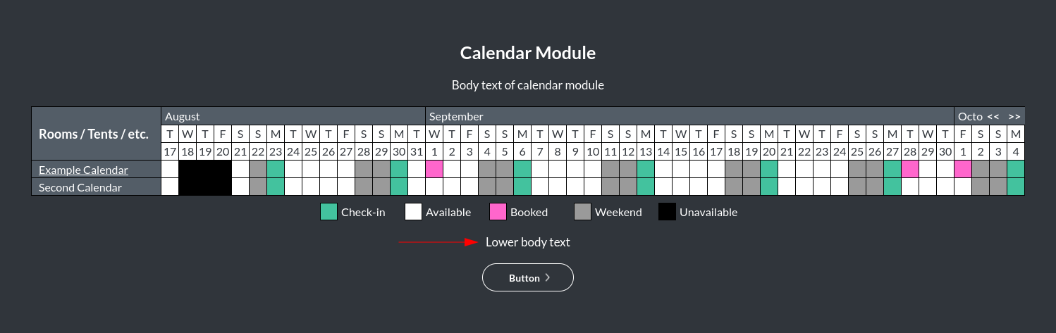 Image of the calendar - hotel bookings module, showing the lower body text online