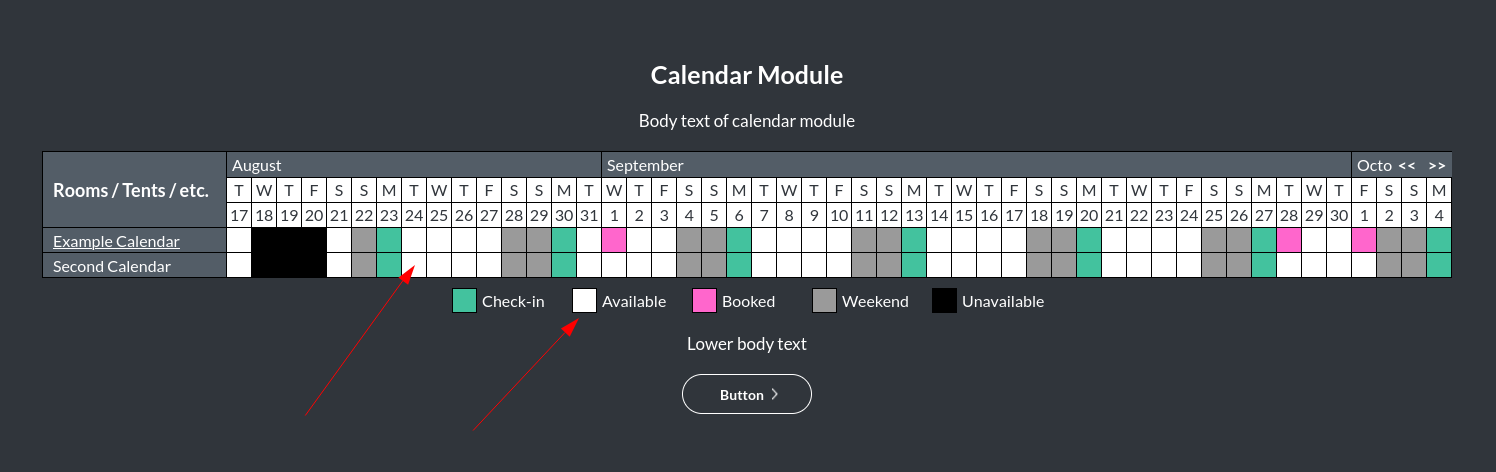 Image of the calendar - hotel bookings module, showing the available colour online