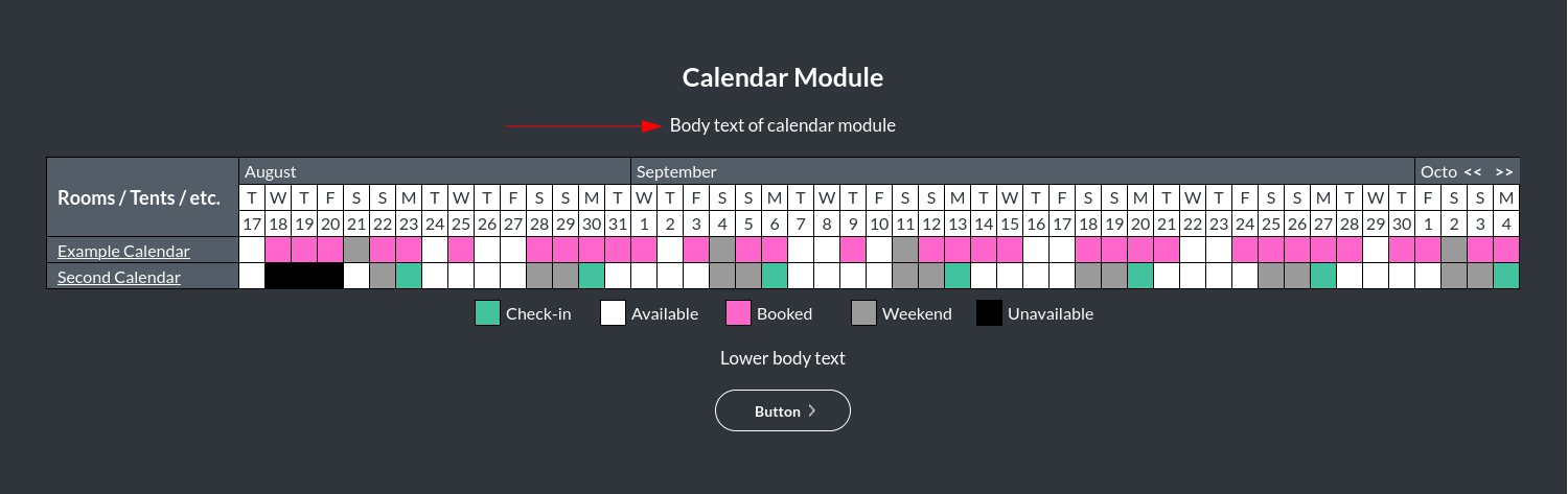 Image of the calendar - hotel bookings module body text online
