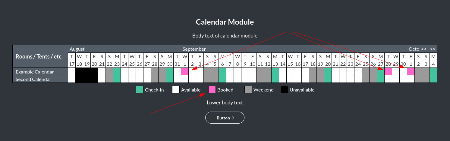 Image of the calendar - hotel bookings module, showing the booked colour online