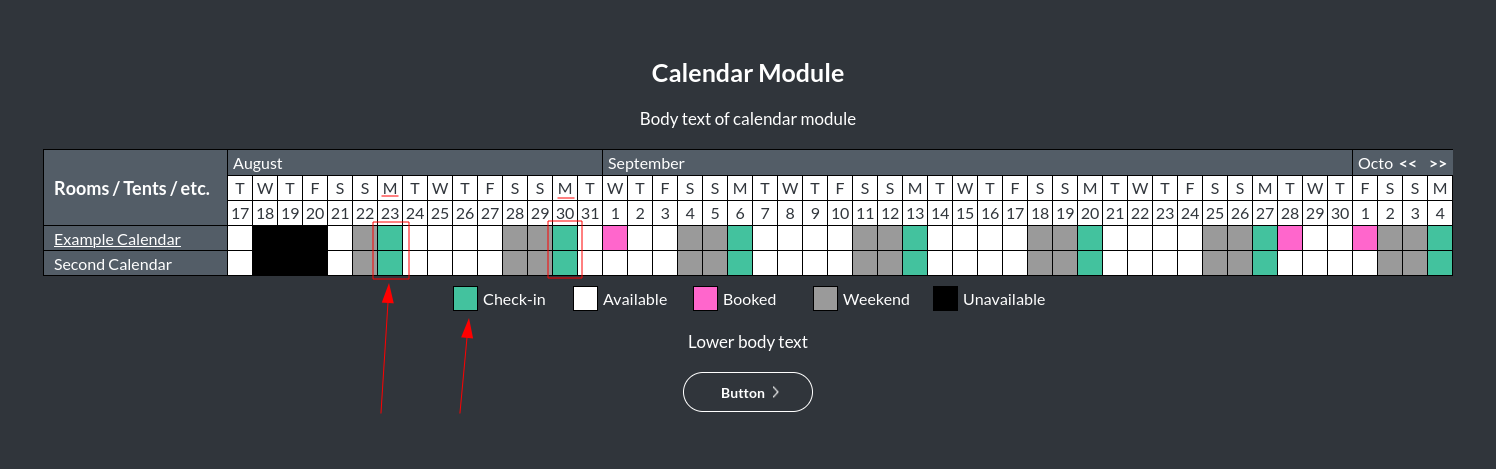 Image of the calendar - hotel bookings module, showing the check-in colour online