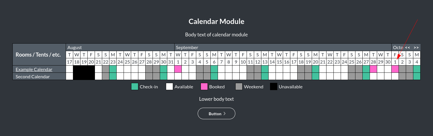 Image of the calendar - hotel bookings module, showing the date bar background colour online