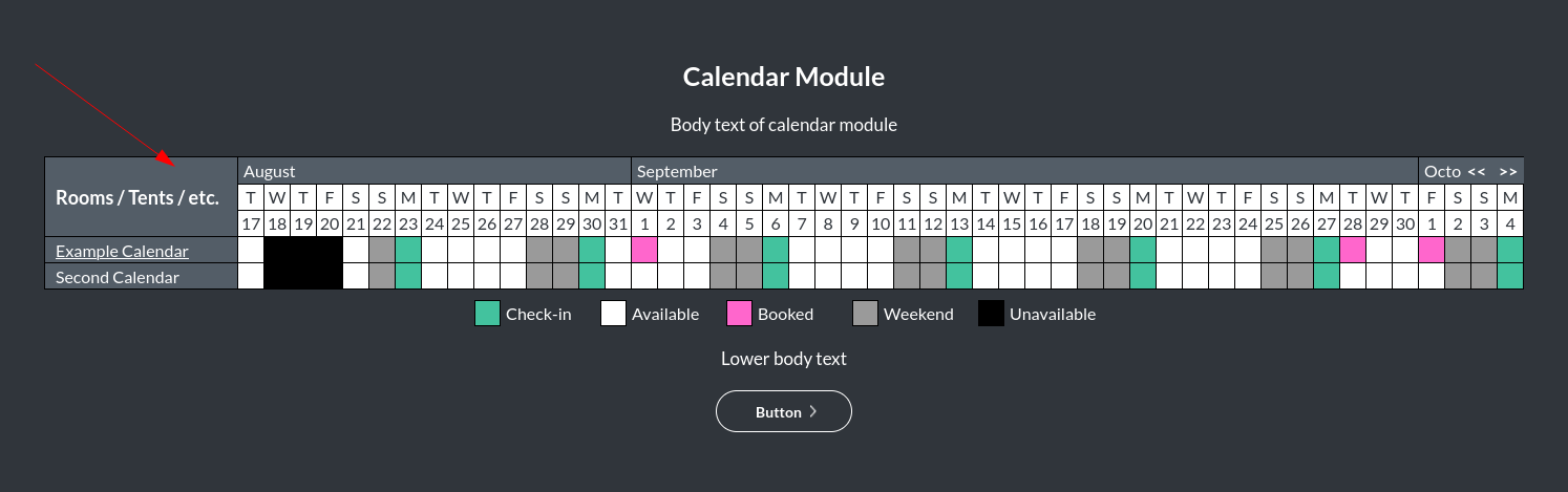 Image of the calendar - hotel bookings module, showing the sidebar background colour online