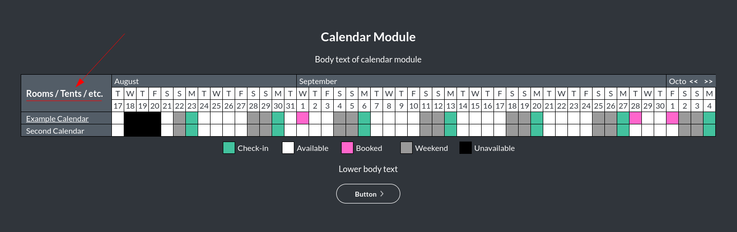 Image of the calendar - hotel bookings module, showing the sidebar font colour online