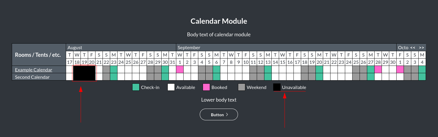 Image of the calendar - hotel bookings module, showing the unavailable colour online