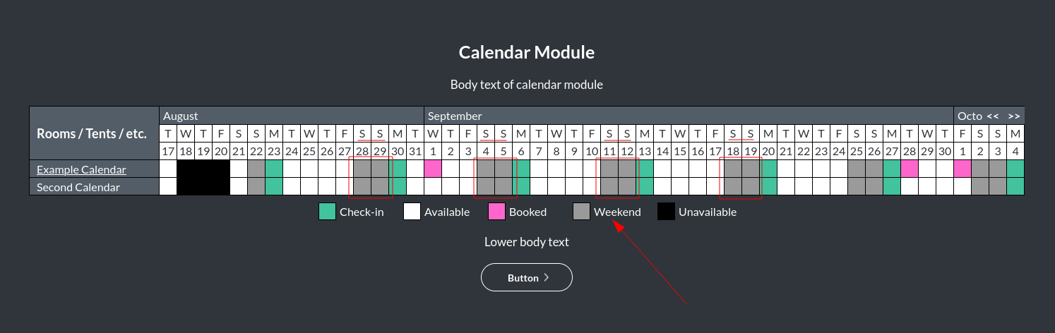 Image of the calendar - hotel bookings module, showing the weekend colour online