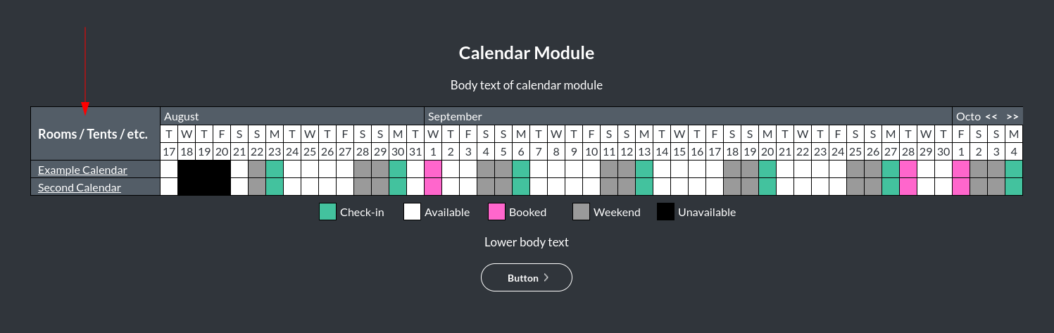 Image of the calendar - hotel bookings module, showing the property type online