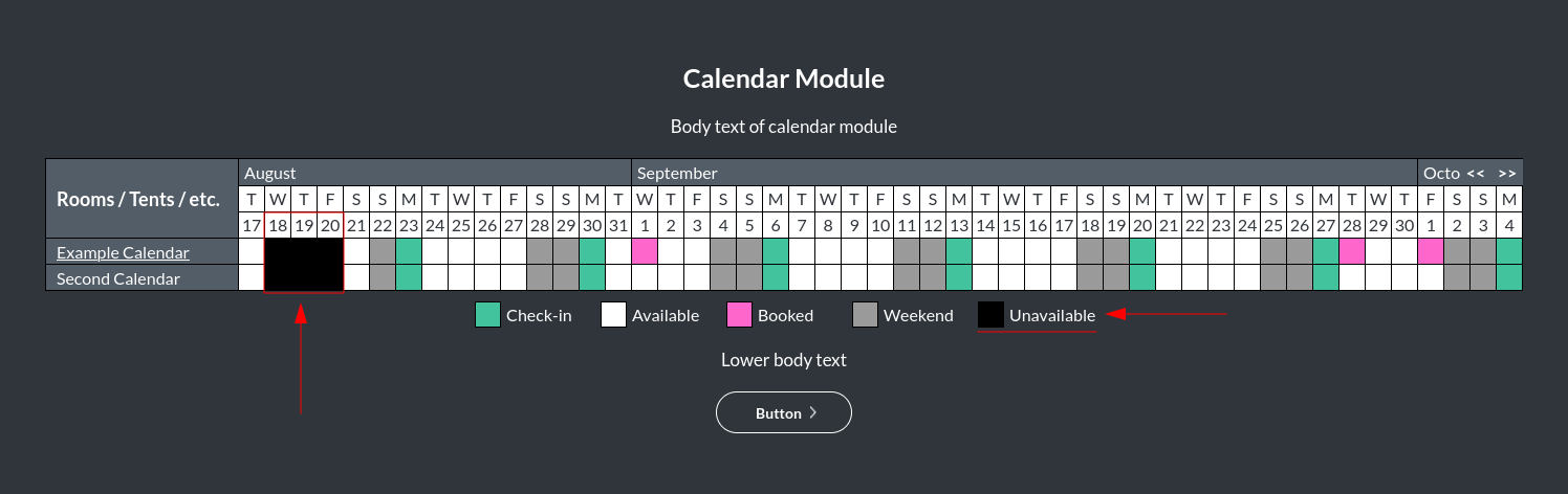 Image of the calendar - hotel bookings module, showing the unavailable dates online