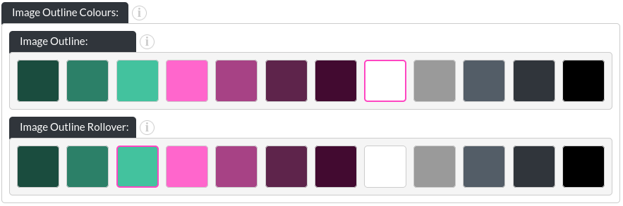 Image of the PDF List module, showing the image outline colours in website builder