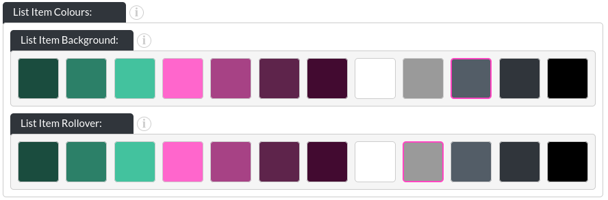 Image of the  PDF List module, showing the list item colours in website builder