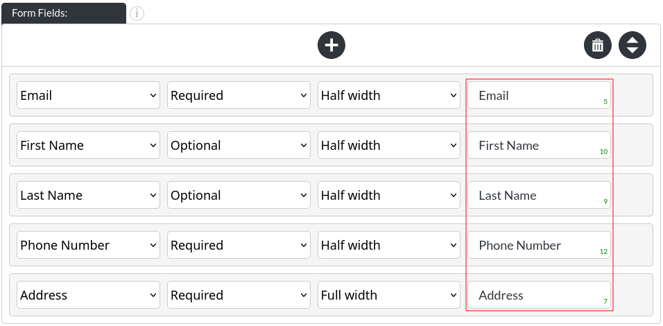Image of the contact module form fields
