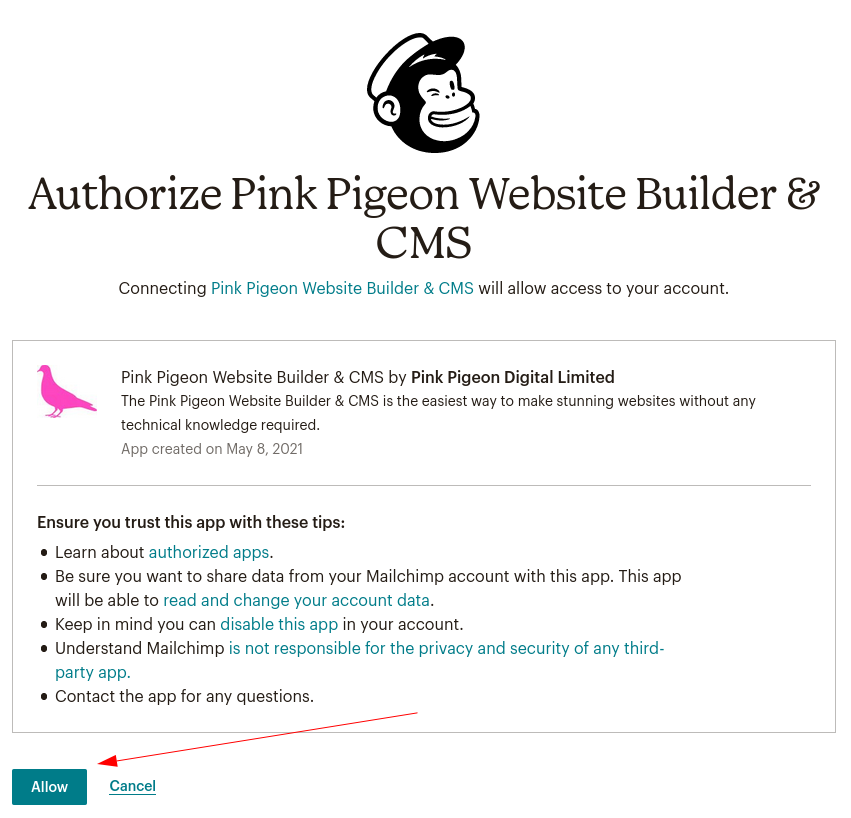 Image of the email signup module