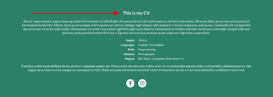 Image of the bio module header text online