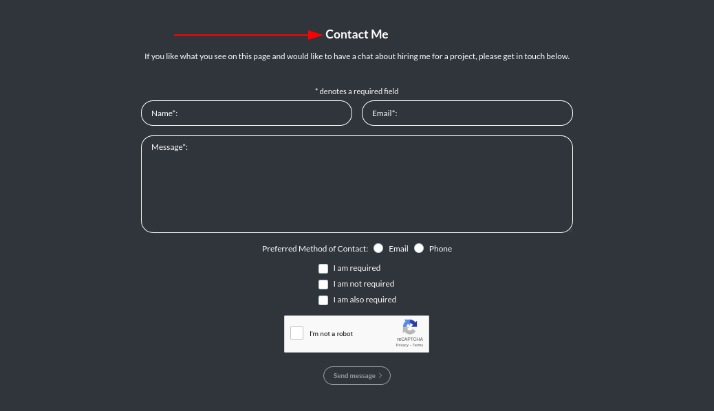 Image of the contact module's header text online