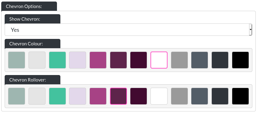 Image of the header chevron options