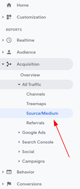 Image of google analytics traffic sources in old interface