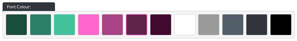 Image of the footer section within Essentials, font colour