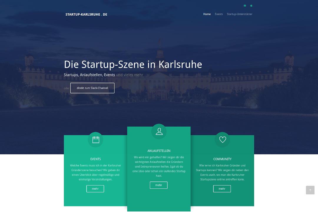 Ein Screenshot der Seite für Startups in Karlsruhe