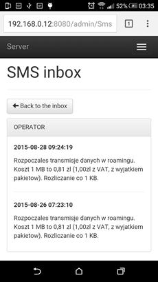 HTTP back-office SMS inbox