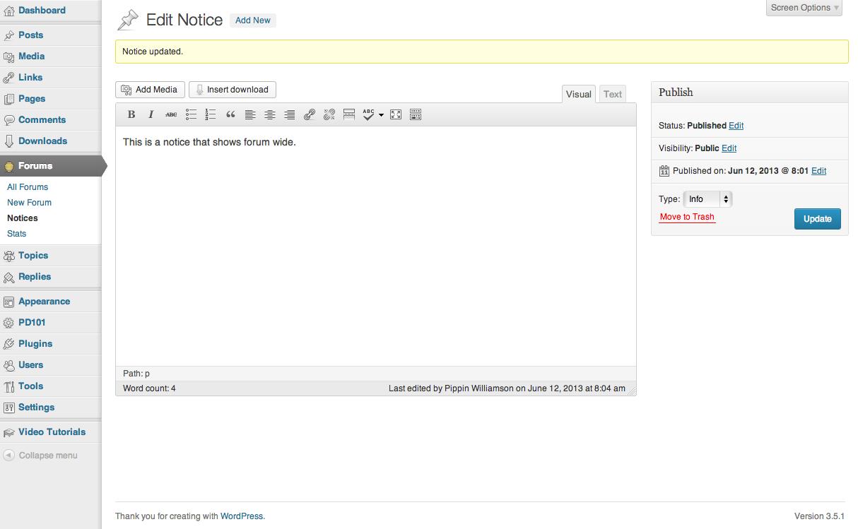 Forum notices admin