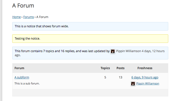 Forum notices front-end
