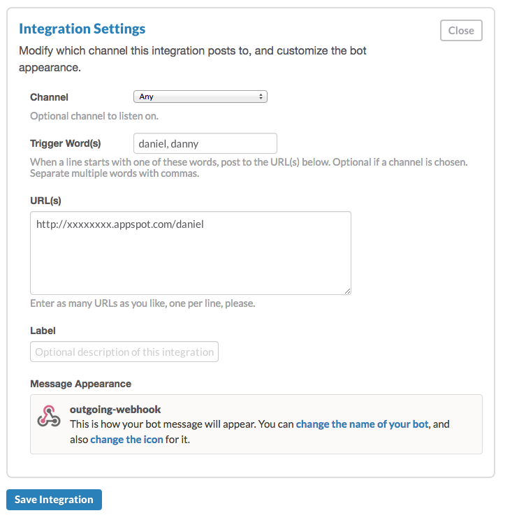 integrations setting