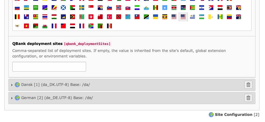 Per-site-language configuration of deployment site.