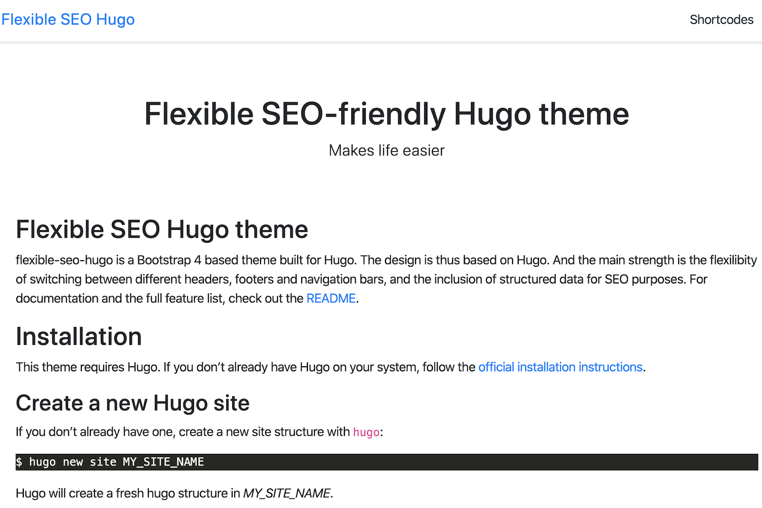 Flexible SEO Hugo Theme Screenshot