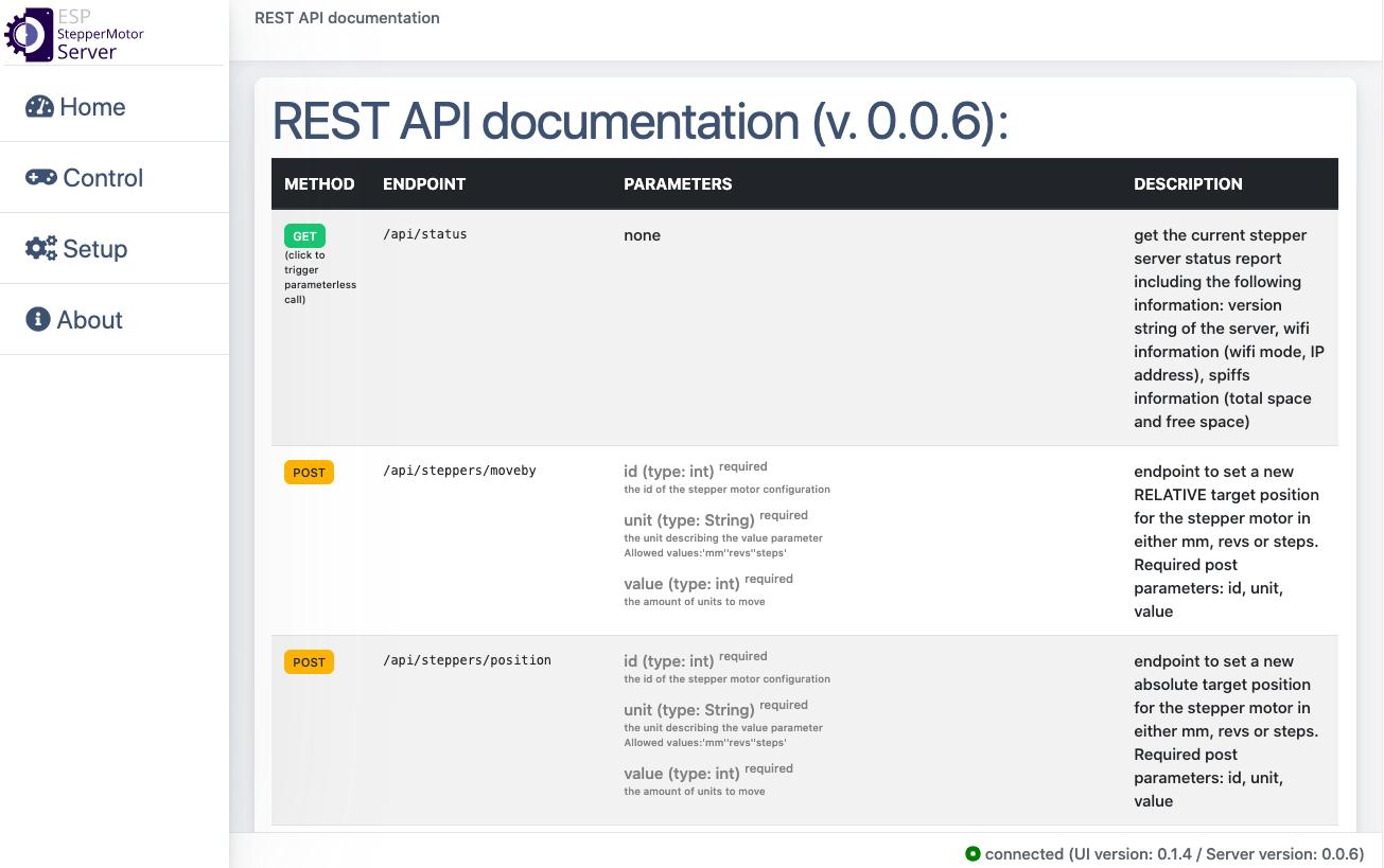 ESP StepperMotor Server REST API documentation screen