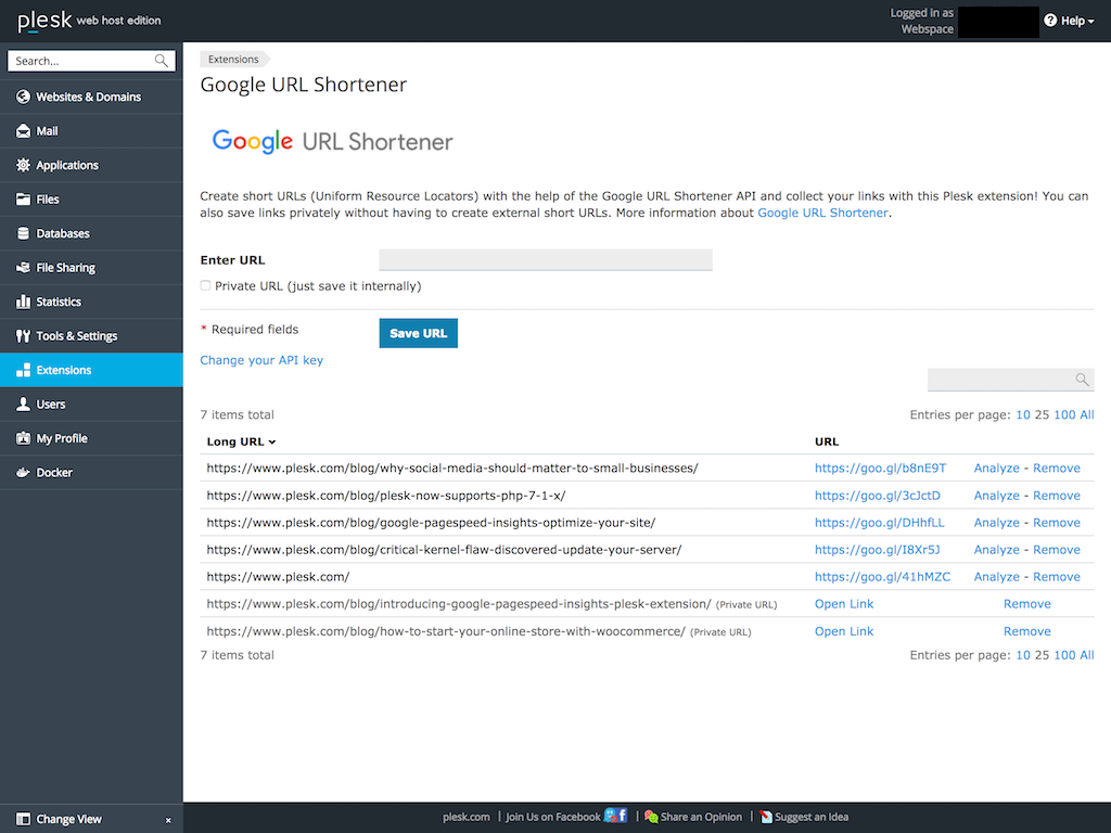 GitHub - plesk/ext-google-url-shortener: Creates short URLs with the