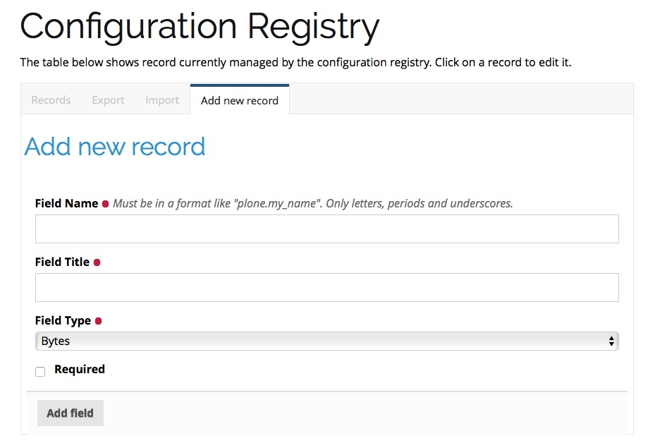 How to add a registry record